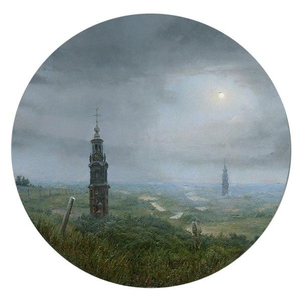 "Dina Brodsky ""Return to Old Towers"", 8″ diameter, oil on plexiglas"