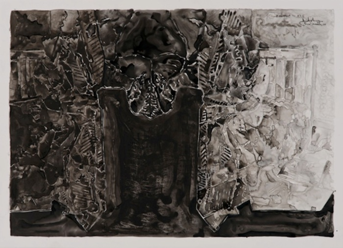 Jasper Johns, Untitled, 2013. Ink on plastic, 27 1/2 × 36""