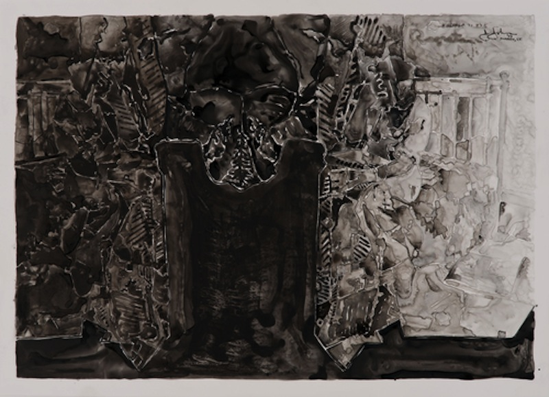 "Jasper Johns, Untitled, 2013. Ink on plastic, 27 1/2 × 36"""