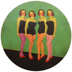 "Mitra Walter  ""Frontal""  2013, Oil on panel, 30 in. diameter / 76 cm. diameter"