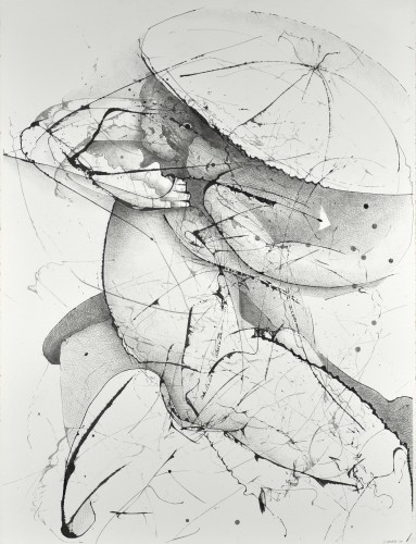 "As The Arrow Survives The String, 40"" x 55"", Graphite and Ink on paper, 2009"