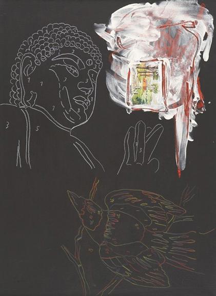 "Trey Speegle ""Buddha Barb"", mixed media on canvas, 18 x 24"", 2008"