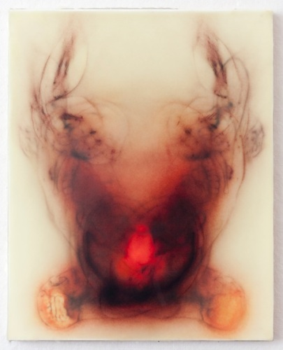 """Every Angel is Terror"", 20″ x 16″, silk and encaustic on panel, 2014"