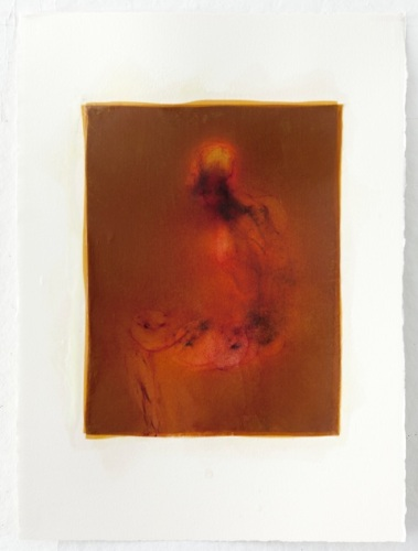 """Every Dancing Atom I"", 30″ x 22″, silk and encaustic on paper, 2014"