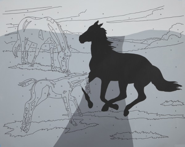 "Trey Speegle ""Leave a Mark (grey road)"", silkscreen, acrylic on canvas, 48 x 60"", 2012"
