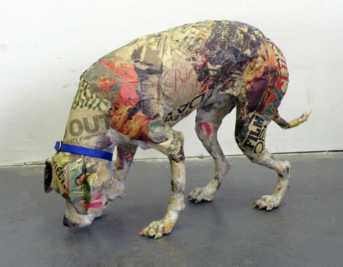 Will Kurtz (assisted Red Grooms and Kate Clark), Artie Sniffing the Ground, Papier-mâché, life-size dog, 2014