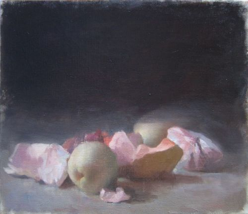 "Karl Koett (assists Yigal Ozeri), Peeled Fruit and Pear, 16""x19"", oil on linen, 2012"