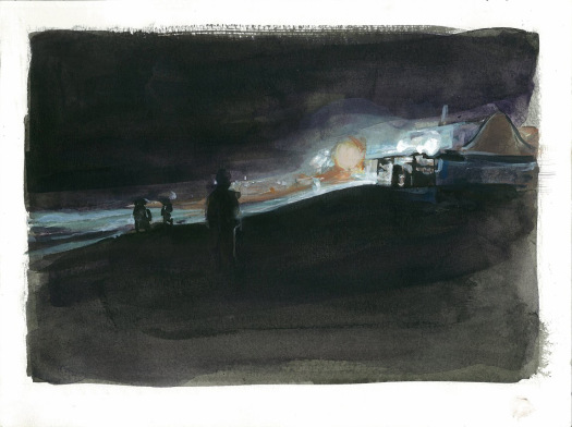 """""""August (A light on a hill)"""" 2012, Acrylic, ink, charcoal, gouache on paper"""