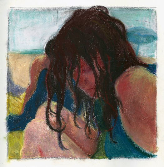 """Page Three,"" 2014 Oil pastel on paper. Approximately 6 ½"" x 6 ½"""