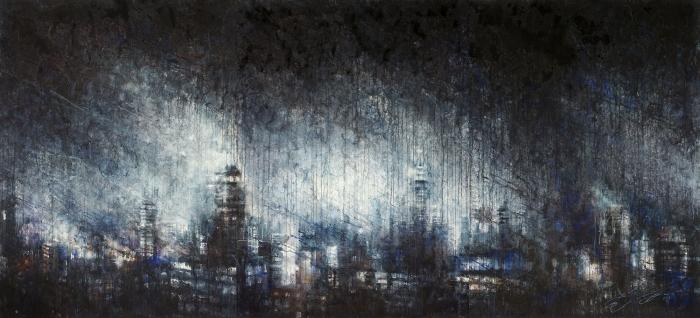 """Ekaterina Smirnova """"Urban Cluster. New York"""" Watercolor 70x156"""""""