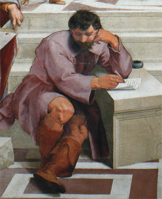 Raphael school of athens who is michelangolo
