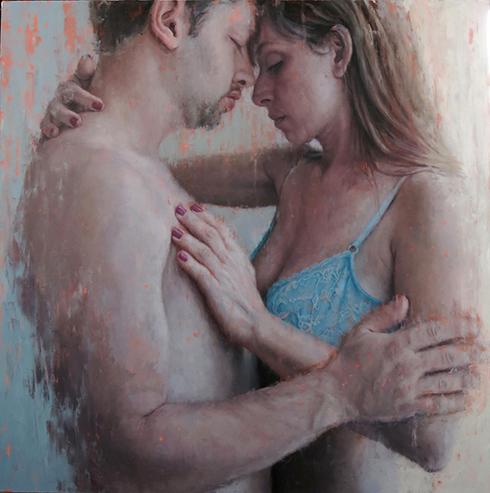 Couple (AJB3) 2014, Oil on canvas 60 x 60 in / 152.4 x 152.4 cm