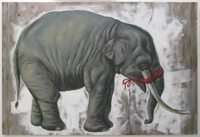 Elephant, acrylic on canvas
