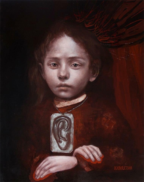 Caitlin Karolczak, Unspoken, oil on board, 17 x 21 1/2 inches, 2015