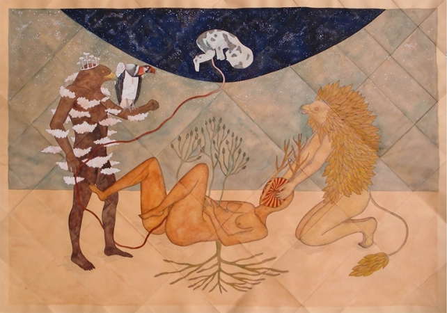"Rithka Merchant, Luna Tabulatorium, Syzygy, gouache and ink on paper, 27.5"" x 20"", 2015"