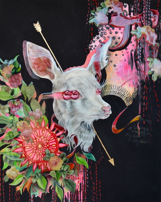 Elizabeth Shupe, Beautiful Creature III, , acrylic, oil, and mixed media on panel 16 x 20 inches, 2015