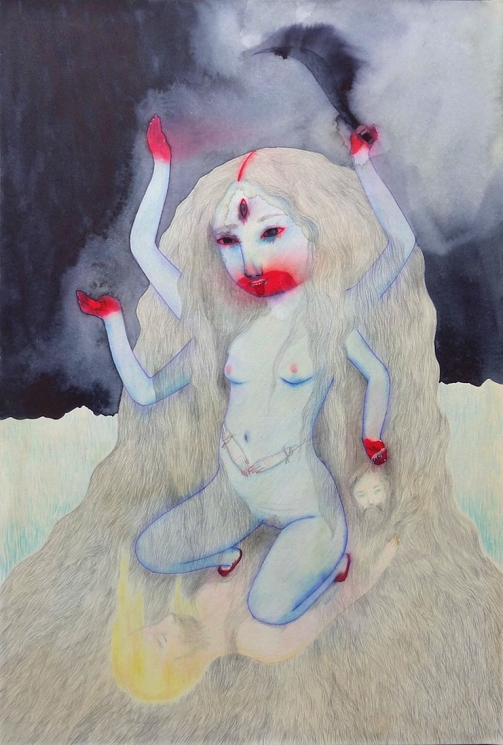 Cendrine Rovini, Kali, mixed media on paper mounted on board, 15 1/4 x 20, 2015