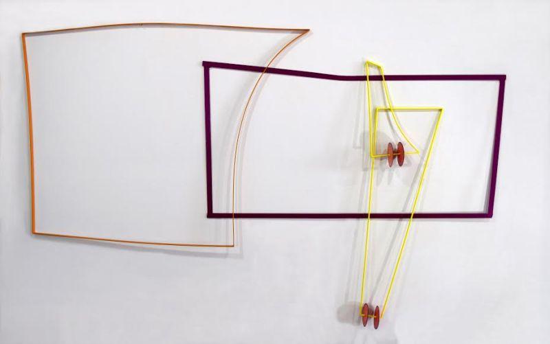 Miriam AncisAroundCorners 1SteelEnamel 96 x 60 x 5 2015
