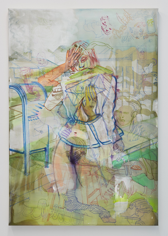 Lime, 2017. Watercolor, marker, gouache, acrylic on canvas