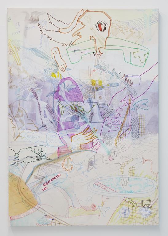 Zoom, 2017. Watercolor, marker, gouache, acrylic on canvas